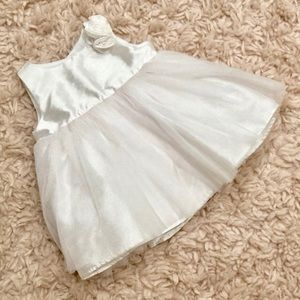 Cherokee White Tulle Floral Newborn Dress